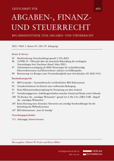 COVID-19 – Übersicht über die steuerliche Behandlung der wichtigsten Zuwendungen bzw Zuschüsse (Stand: März 2021)