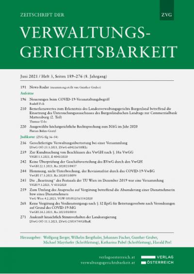 Aktuelle Ereignisse und Entwicklungen in Gesetzgebung, Rechtsprechung und Praxis