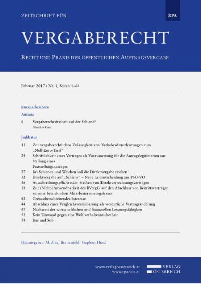 """Zur vergaberechtlichen Zulässigkeit von Verkehrsdienstleistungen zum """"Null-Euro-Tarif"""""""