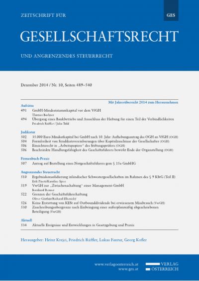 35.000 Euro Mindestkapital bei GmbH nach 10. Jahr: Aufhebungsantrag des OGH an VfGH