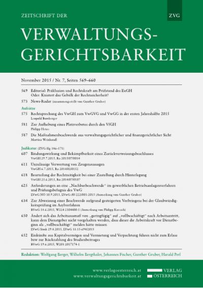 Rechtsprechung des VwGH zum VwGVG und VwGG in der ersten Jahreshälfte 2015