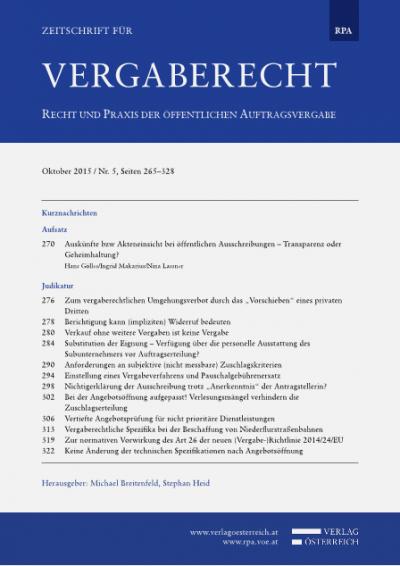 Zur normativen Vorwirkung des Art 26 der neuen (Vergabe-)Richtlinie 2014/24/EU