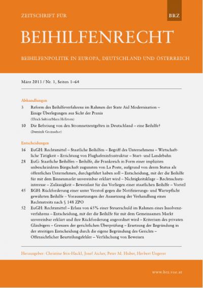 Reform des Beihilfeverfahrens im Rahmen der State Aid Modernisation – Einige Überlegungen aus Sicht der Praxis