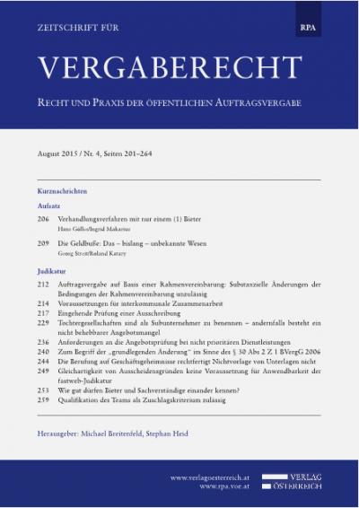 """Zum Begriff der """"grundlegenden Änderung"""" im Sinne des §30 Abs2 Z1 BVergG 2006"""
