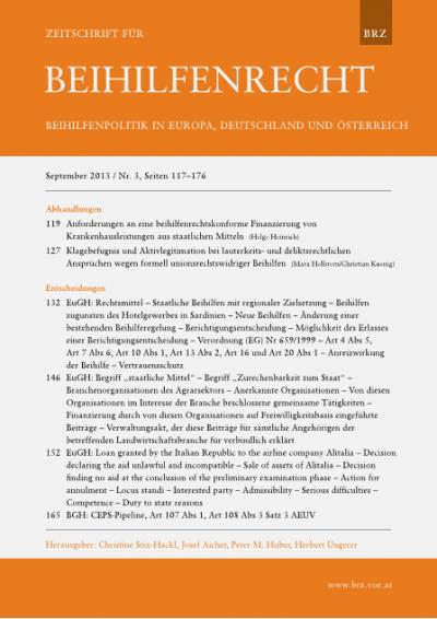 Klagebefugnis und Aktivlegitimation bei lauterkeits- und deliktsrechtlichen Ansprüchen wegen formell unionsrechtswidriger Beihilfen