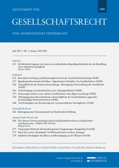 Die alineare Gewinnverteilung durch Gesellschafterbeschluss in Gesellschafts- und Steuerrecht - OGH 6 Ob 143/16x