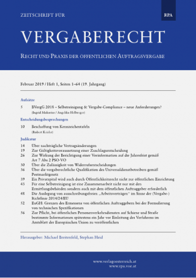 BVergG 2018 - Selbstreinigung & Vergabe-Compliance - neue Anforderungen?