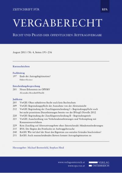 VwGH: Begründung der Zuschlagsentscheidung I – Begründungspflicht auch bei nicht prioritären Dienstleistungen bereits vor der BVergG-Novelle 2012