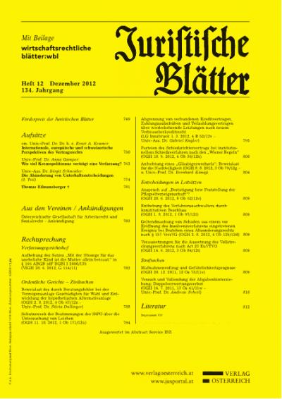 Förderpreis der Juristischen Blätter