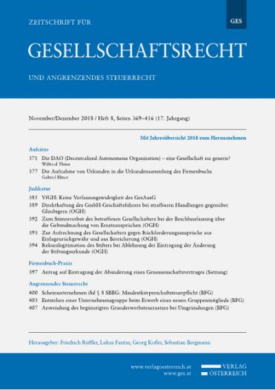 Scheinunternehmen iSd § 8 SBBG: Mindestkörperschaftsteuerpflicht