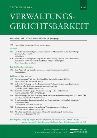 Die Rolle der fachkundigen Laienrichterinnen und Laienrichter in der Verwaltungsgerichtsbarkeit - Teil I
