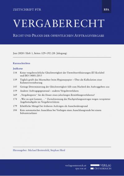 Keine vergaberechtliche Gleichwertigkeit der Umweltzertifizierungen EU-Ecolabel und ISO 14001:2015