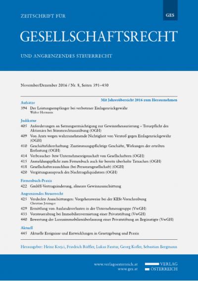 GmbH-Vertragsänderung, alineare Gewinnausschüttung