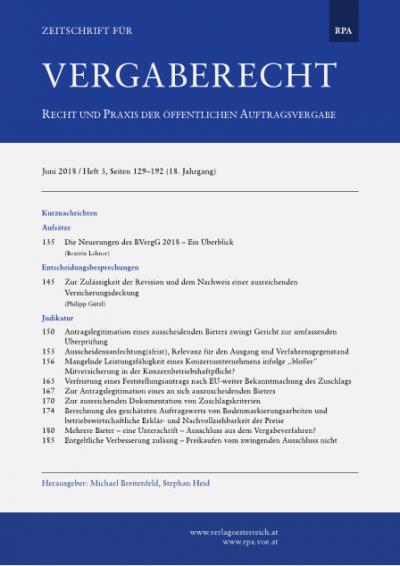 Die Neuerungen des BVergG 2018 - Ein Überblick