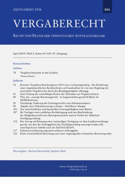 Kärntner Vergaberechtsschutzgesetz 2014 (war) verfassungswidrig - Die Einführung eines vergabespezifischen Rechtsschutzes auf Landesebene ist von einer Regelung des materiellen Vergaberechts durch den Bundesgesetzgeber abhängig