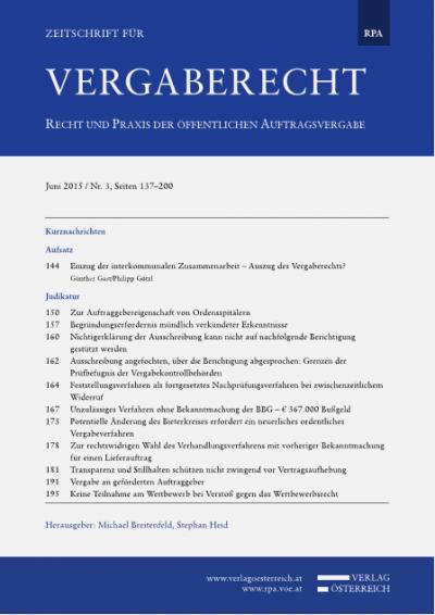 Einzug der interkommunalen Zusammenarbeit – Auszug des Vergaberechts?