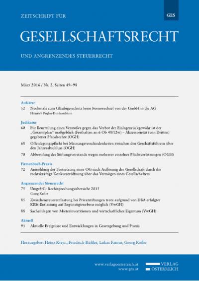 Nochmals zum Gläubigerschutz beim Formwechsel von der GmbH in die AG