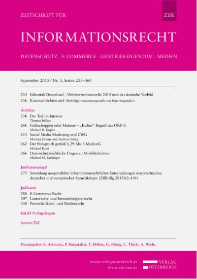 OGH, Urteil 21.10.2014, 4 Ob 172/14v – Nennung des Sponsors bei Berichterstattung