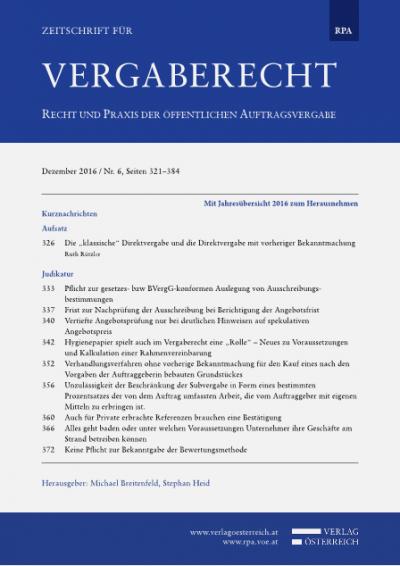 Pflicht zur gesetzes- bzw BVergG-konformen Auslegung von Ausschreibungsbestimmungen